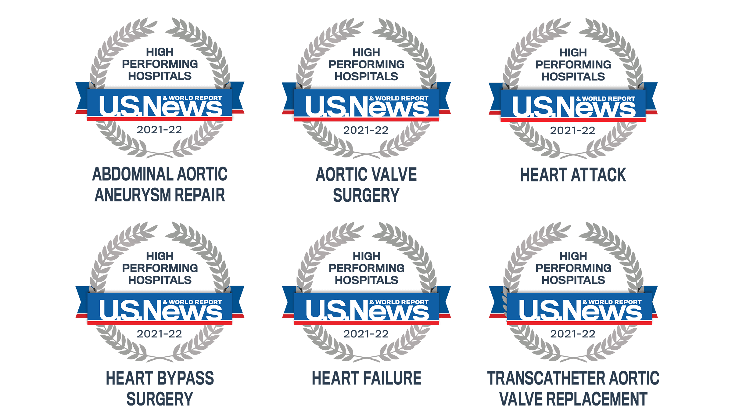 Rated as a High Performing Hospital for 2021 and 2022 in Abdominal Aortic Aneurysm Repair, Aortic Valve Surgery, Heart Attack, Heart Bypass Surgery, Heart Failure, and Transcatheter Aortic Valve Replacement.