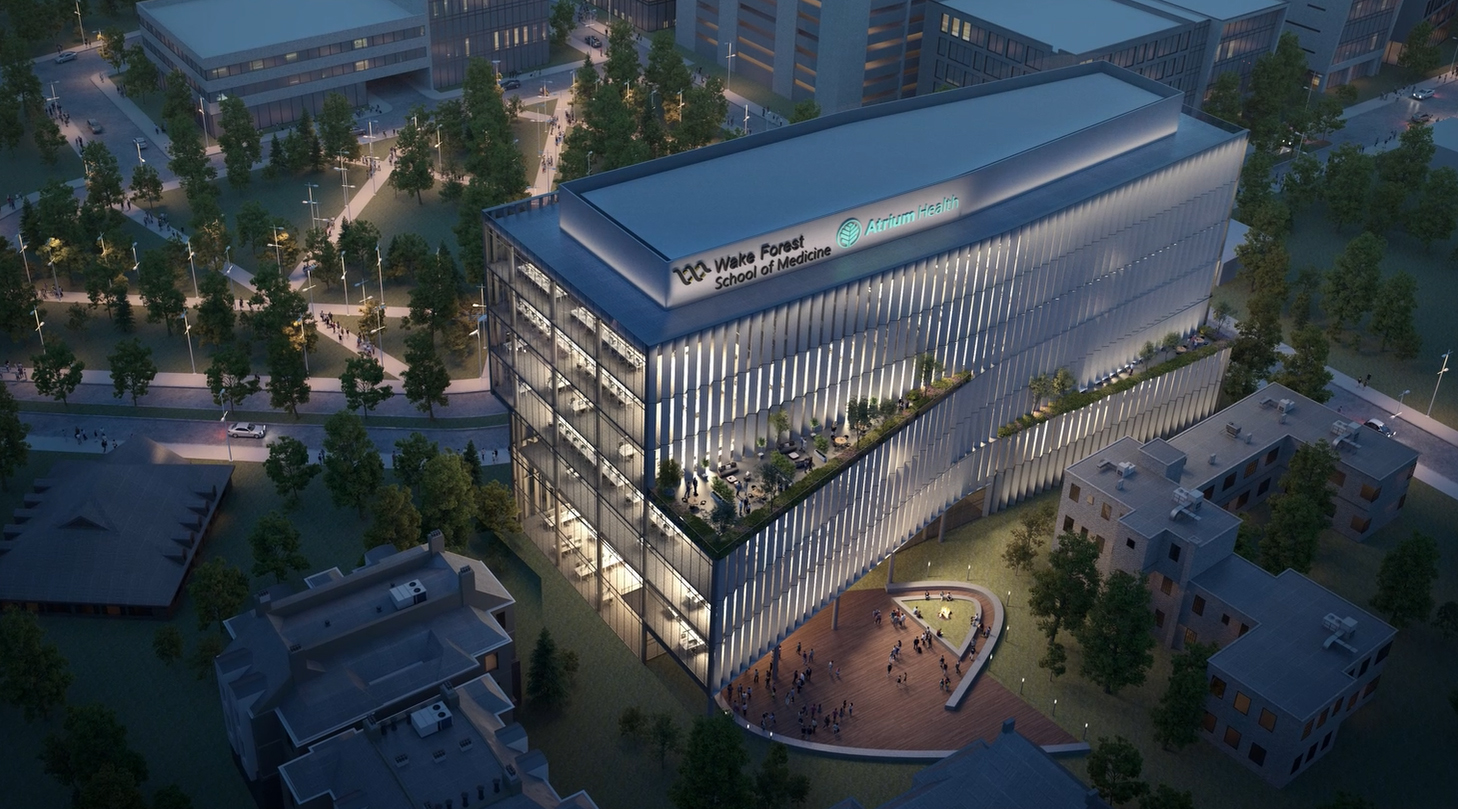 A preliminary concept rendering of the second Wake Forest School of Medicine campus in Charlotte, North Carolina, which would be part of a strategic combination between Charlotte-based Atrium Health and Wake Forest Baptist Health in Winston-Salem.