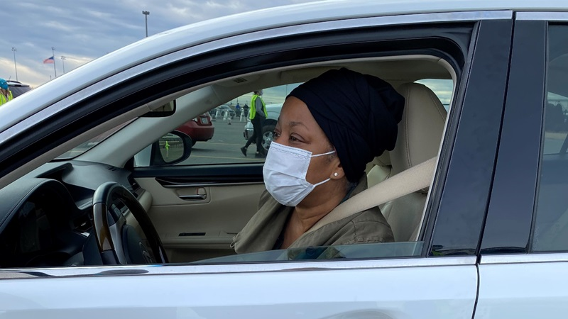 Cynthia Clarke received her first dose of the COVID-19 vaccine at Charlotte Motor Speedway at its first mass vaccination event