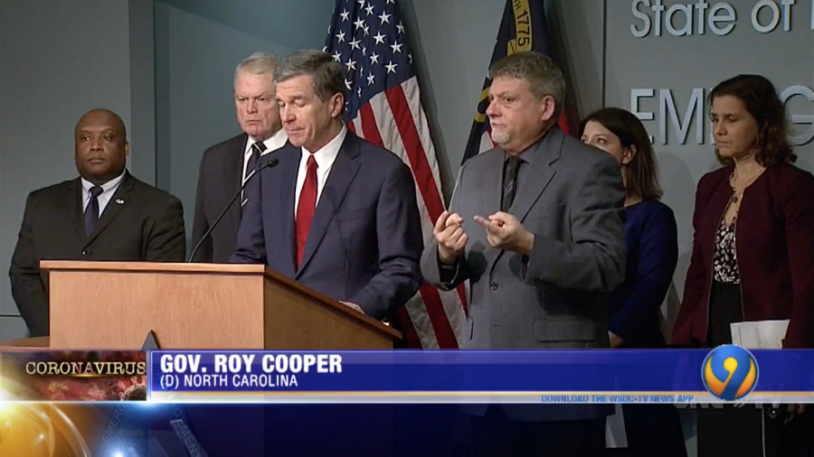 Governor Roy Cooper gives public announcement about first positive coronavirus cases in North Carolina.