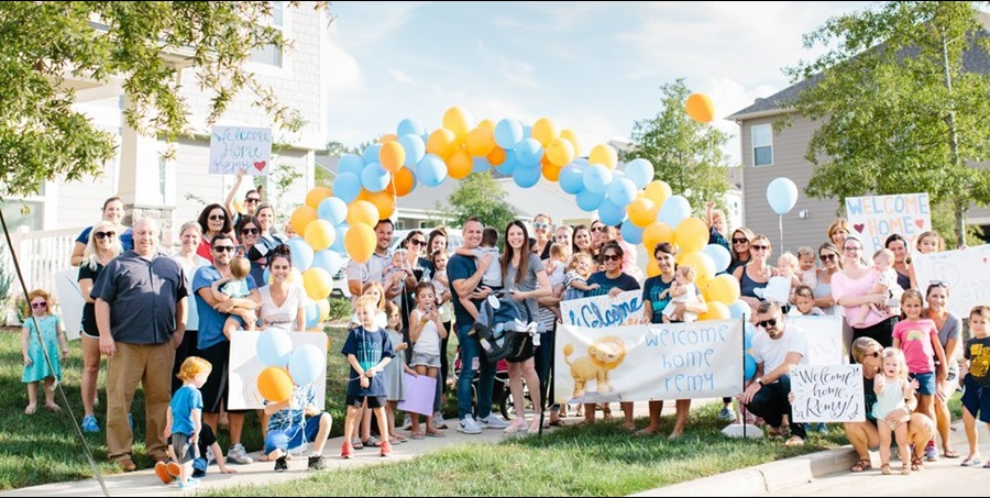 Remy Bowes returns home from Levine Children's Hospital.