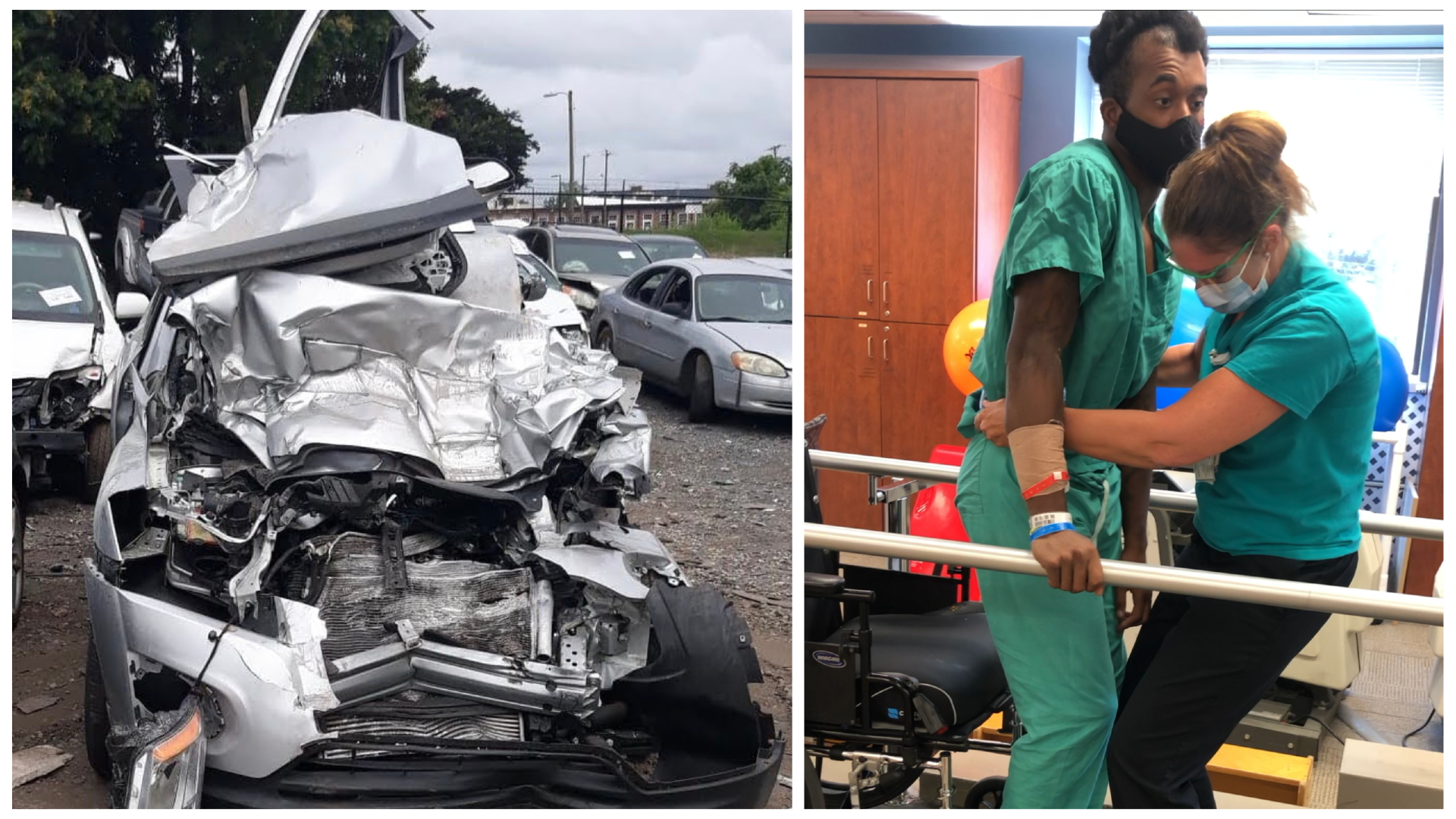 The last thing Jabari remembered before his accident was switching lanes behind a truck. The next memory he had was waking up in the STICU at Atrium Health Carolinas Medical Center.
