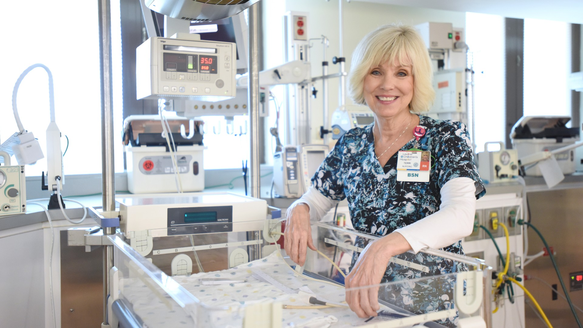 """Terri Richards, BSN, RN, at Atrium Health's Levine Children's Hospital, has spent more than 40 years as a nurse. """"It's not been a career, it's a calling for me,"""" Richards says."""